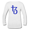 Tezos Women's Long Sleeve  V-Neck Flowy Tee - white