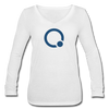 Qubitica Women's Long Sleeve  V-Neck Flowy Tee - white