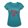 TRON Women's Tri-Blend V-Neck T-Shirt - heather turquoise