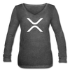 XRP Women's Long Sleeve  V-Neck Flowy Tee - deep heather