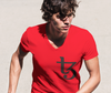 Tezos Lightweight Fashion V-Neck T-Shirt with Tear Away Label