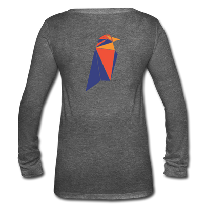 Ravencoin Women's Long Sleeve  V-Neck Flowy Tee - deep heather