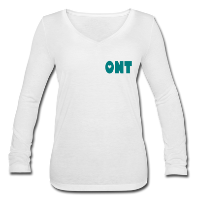Ontology Women's Long Sleeve  V-Neck Flowy Tee - white