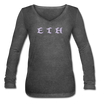 Ethereum Women's Long Sleeve  V-Neck Flowy Tee - deep heather