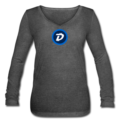 Digibyte Women's Long Sleeve  V-Neck Flowy Tee - deep heather