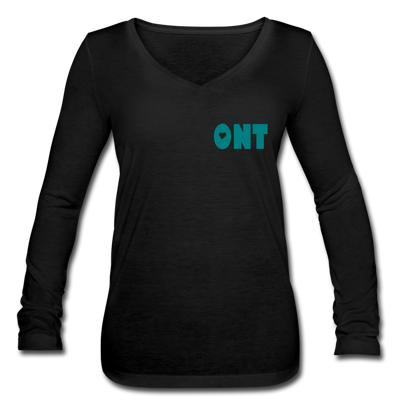 Ontology Women's Long Sleeve  V-Neck Flowy Tee - black