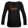 Ravencoin Women's Long Sleeve  V-Neck Flowy Tee - black