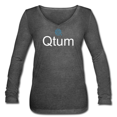 Qtum Women's Long Sleeve  V-Neck Flowy Tee - deep heather