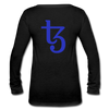Tezos Women's Long Sleeve  V-Neck Flowy Tee - black