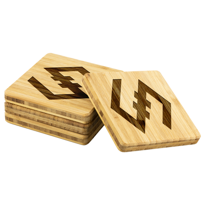 Exclusive IOST Bamboo Coasters - Sticky Crypto