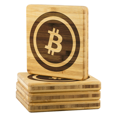 Exclusive Bitcoin Bamboo Coasters - Sticky Crypto