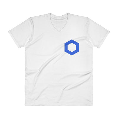 Chainlink Premium V-Neck T-Shirt with Tear Away Label - Sticky Crypto