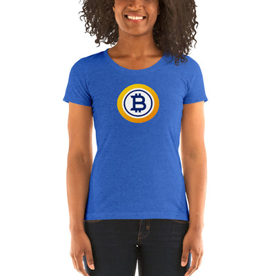 Bitcoin Gold Ladies' Triblend Short Sleeve T-Shirt with Tear Away Label - Sticky Crypto