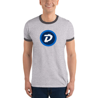 Digibyte Lightweight Ringer Tee with Tear Away Label - Sticky Crypto