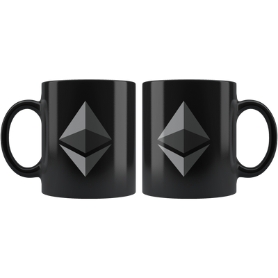 Ethereum Coffee Mug -- All Black - Sticky Crypto