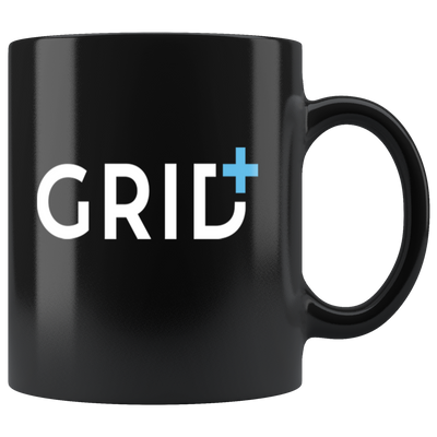 GRID+ Coffee Mug -- All Black - Sticky Crypto