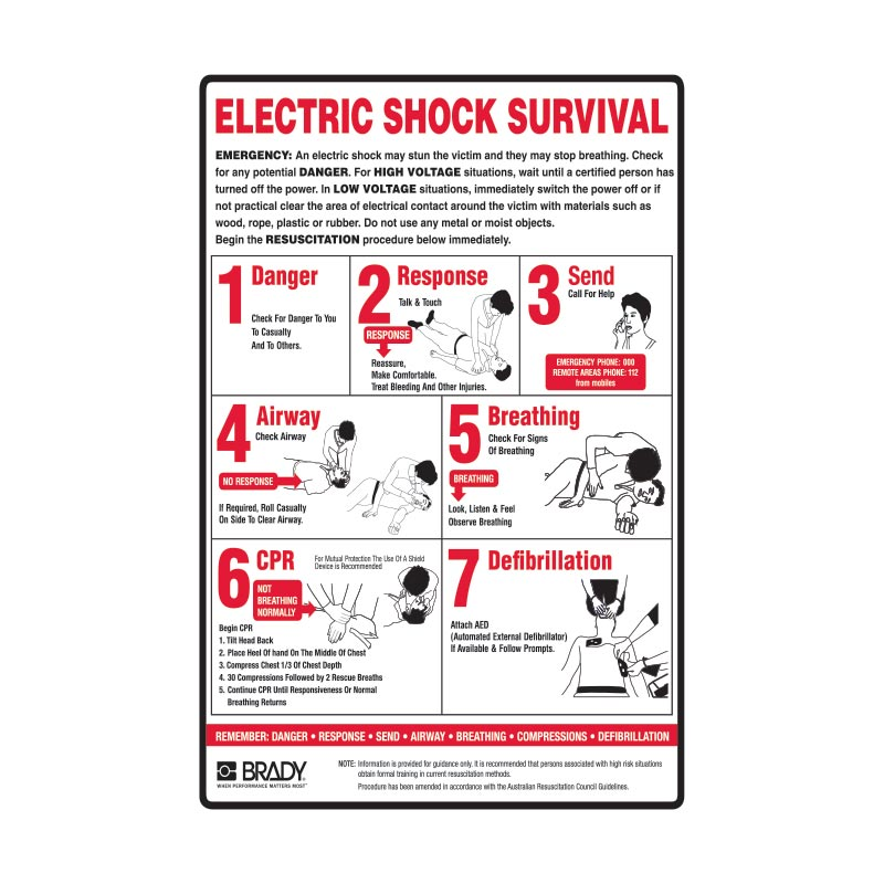 First Aid Posters - Electrical Shock Survival Sign