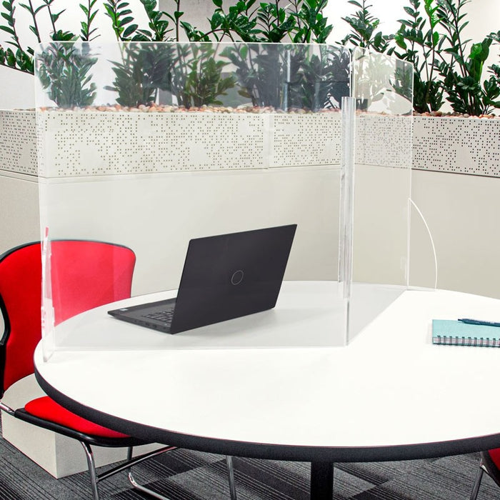 Sneeze Guard Folding Acrylic Table Divider Panel Clear - 600mm x 600mm