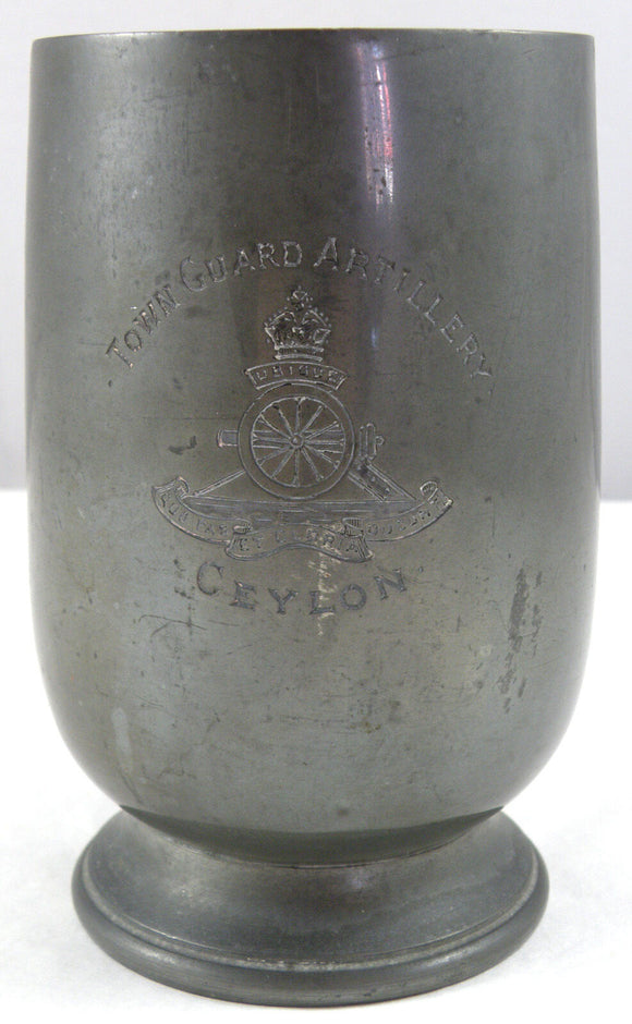 WWI Pewter Mug Town Guard Artillery
