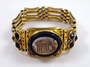 Antique Gold Romain Ruin Micro Mosaic Bracelet