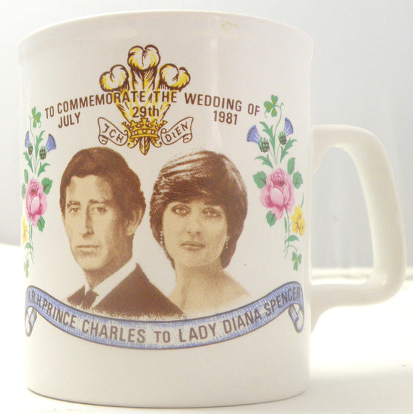 Commemorative Pottery Mug: Wedding of Charles & Diana July 29 1981