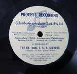 Very Rare COLUMBIA 78rpm Recording of AUSTRALIAN Political Messages 1938