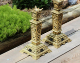 Pair Of Bronze French Gothic Style Candlesticks 19th Century