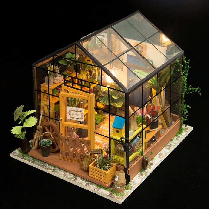 Robotime DIY Dollhouse Kit-Cathy's Flower House with LED light