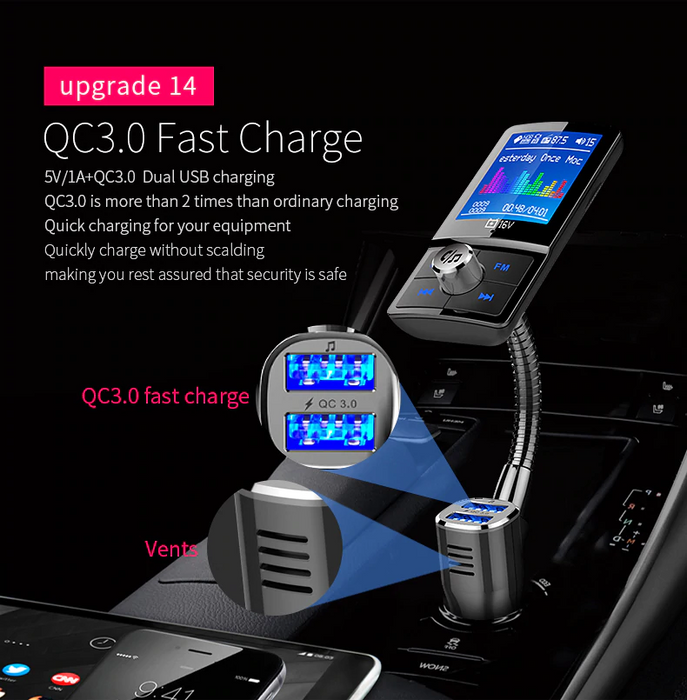 YASOKRO Color Screen FM Transmitter Car MP3 Wireless Bluetooth Hands free Car Kit with QC 3.0 Dual USB Car Charger Support TF & U Disk