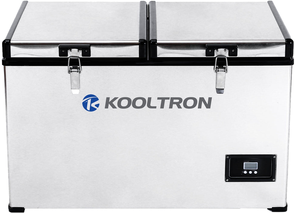 Kooltron 75L Stainless Steel Dual Compartment Fridge / Freezer Camping 12v24v 240v