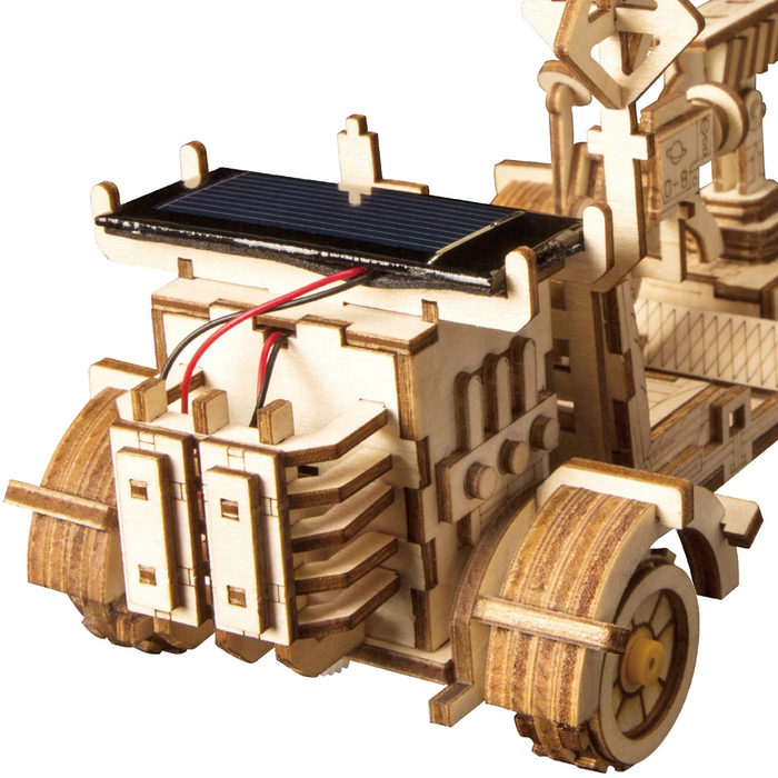 Robotime 3D Wooden Puzzle Movement Assembled Solar Energy Powered Toys Space Hunting Moon Buggy