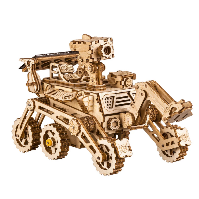Robotime 3D Wooden Puzzle Movement Assembled Solar Energy Powered Toys Space Hunting Curiosity Rover