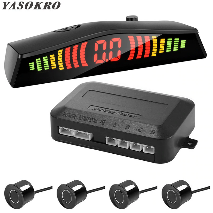 YASOKRO Parktronic Car Detector Auto LED Display 4PCS Parking Sensor Kit Reverse Assistance Backup Radar Monitor Parking Car-detector