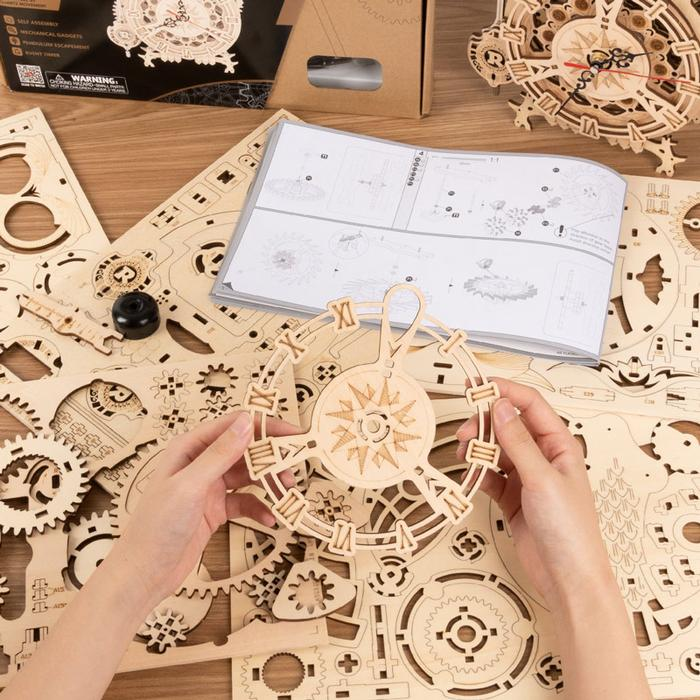 Robotime 3D Puzzle Owl Clock Battery Mechanical Gears Kit