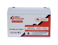 2 x Pro Power 12V 105AH AGM Deep Cycle Battery Caravan 4WD Boat Solar System