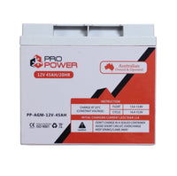 Pro Power 12V 12Volt 45AH AGM Deep Cycle Battery Caravan 4WD Boat Solar System