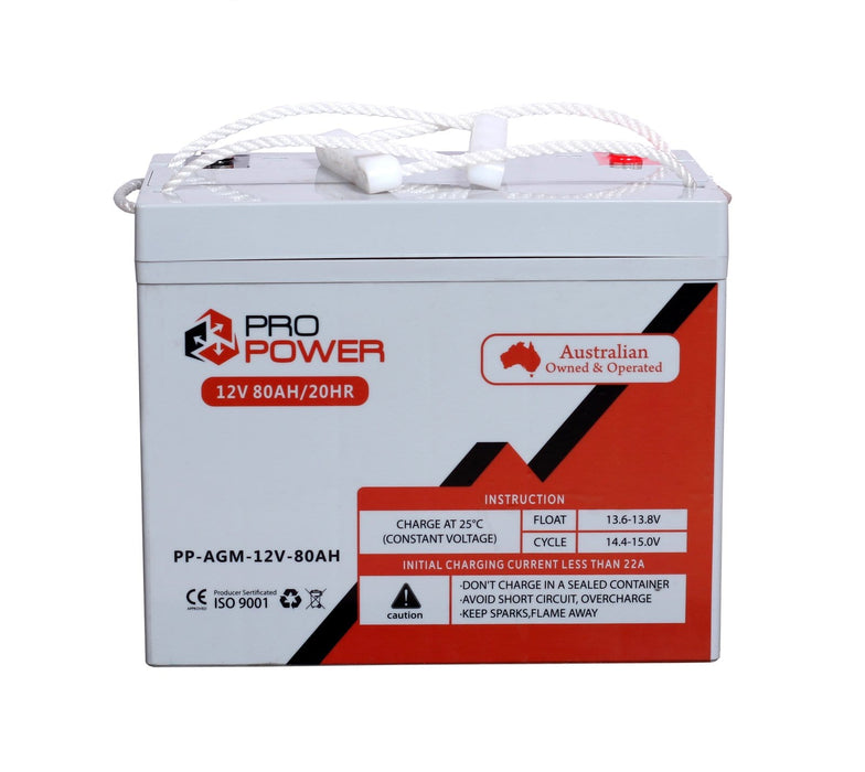 2 x Pro Power 12V Volt 80AH AGM Deep Cycle Battery Caravan 4WD Boat Solar System - Ozimall