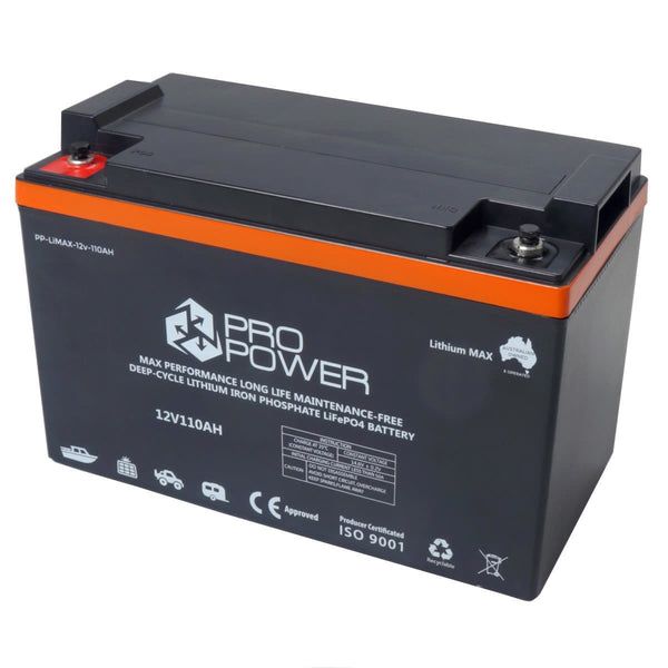 Pro Power 12V 110ah Lithium Iron LiFePo4 Deep Cycle Battery Solar 4WD Caravan