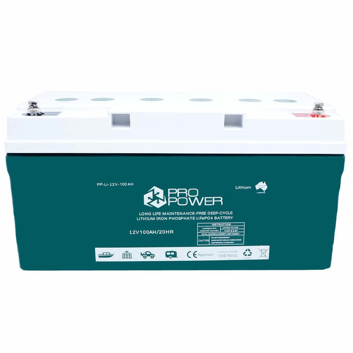 Pro Power 12V Volt 100ah Lithium Iron LiFePo4 Deep Cycle Battery + 20A Charger - Ozimall