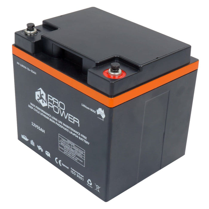 Pro Power 12V Volt 55ah Lithium LiFePo4 High Discharge 5C Battery with Charger - Ozimall