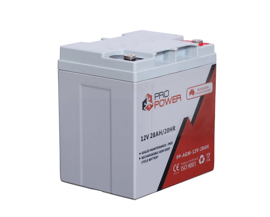 Pro Power 12V 12Volt 28AH AGM Deep Cycle Battery Caravan 4WD Boat Solar System