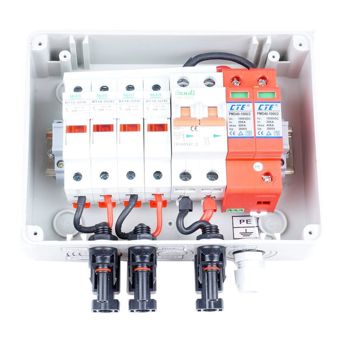 Dual Fused Circuit Breaker 2-String Solar Combiner Box Mc4 Lightning protection