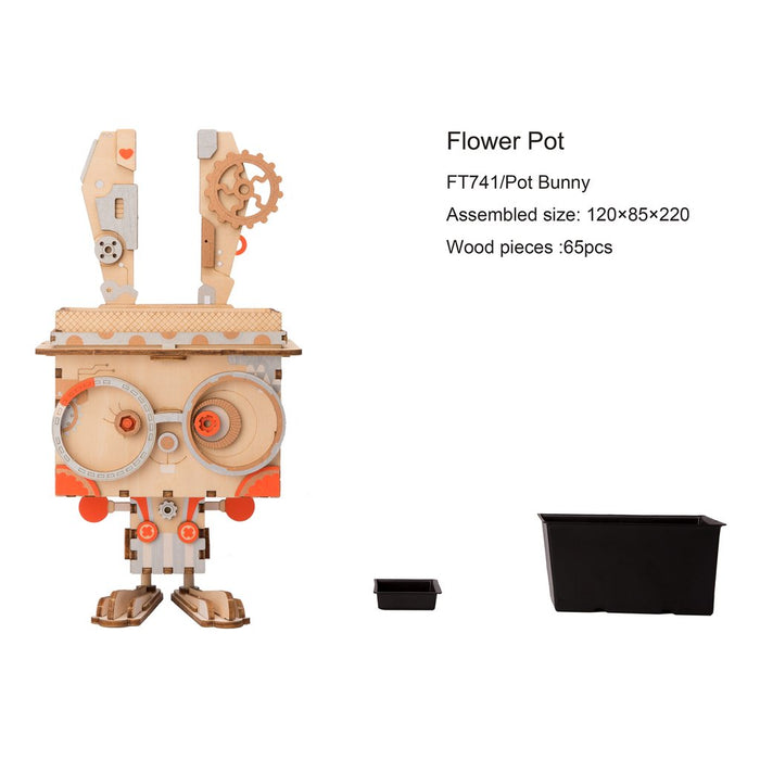 Robotime Cute Robot Flower Pot - 3D Wooden Puzzle - Building Kits Toy Bunny