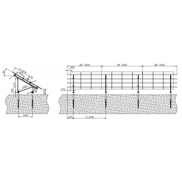 Ground Mount Array: 20 X 60 Cell Panels (Ground Screws)