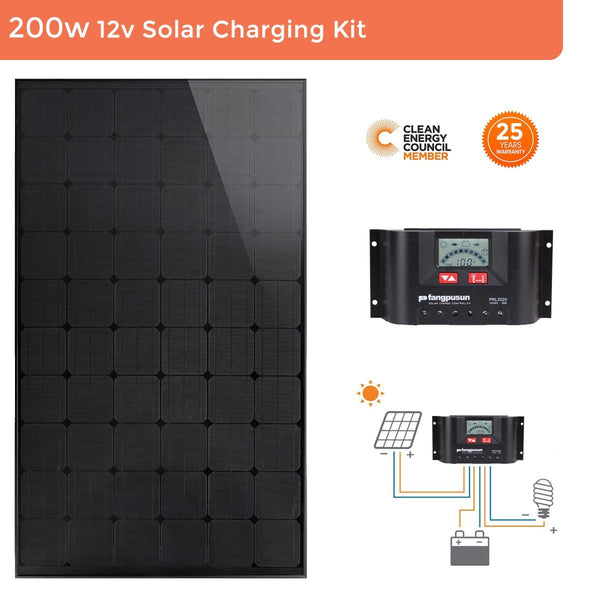 Perlight 12v 200W Rooftop Solar Panel Caravan Boat Camping Mono Charging Kit