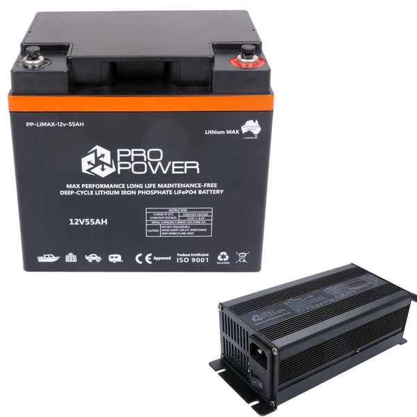 Pro Power 12V Volt 55ah Lithium LiFePo4 High Discharge 5C Battery with Charger