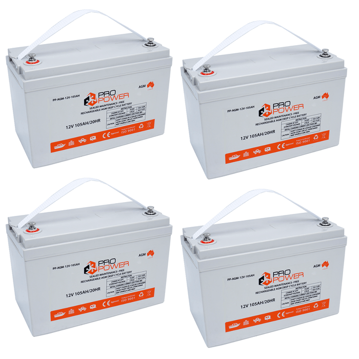 Pro Power 24V Volt 210AH AGM Deep Cycle Battery Caravan 4WD Boat Solar System - Ozimall