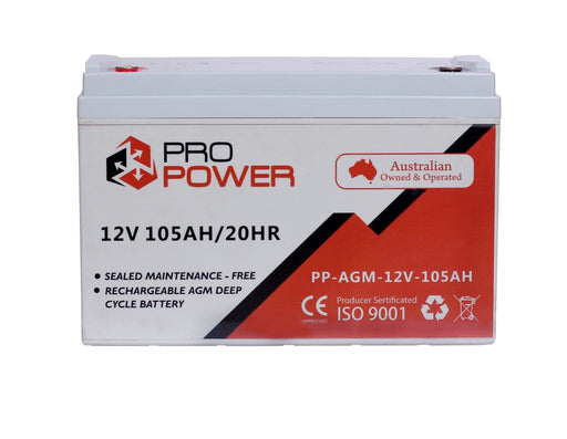 Pro Power 12V Volt 105AH AGM Deep Cycle Battery Caravan 4WD Boat Solar System - Ozimall