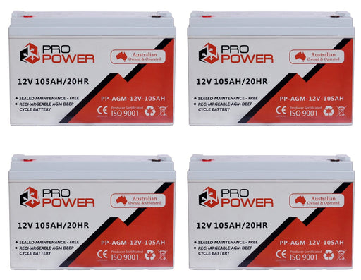 4 x Pro Power 12V 105AH AGM Deep Cycle Battery Caravan 4WD Boat Solar System - Ozimall
