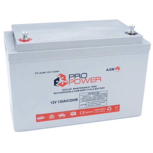 Pro Power 12V Volt 130AH AGM Deep Cycle Battery Caravan 4WD Boat Solar System - Ozimall